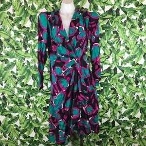 5 for $25 Vintage 80's Shoulder Pad Wrap Dress